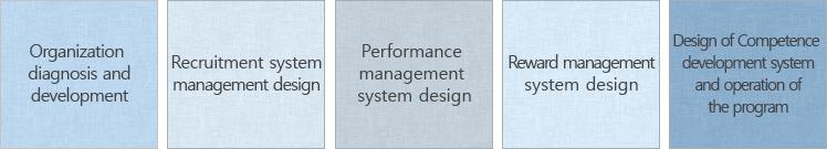 조직 진단 및 개발, 경력 개발 프로그램 설계, 성과관리 프로그램 설계, 경력 개발 프로그램 설계